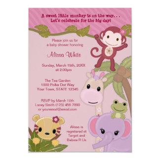 Safari doce do convite do chá de fraldas dos bebês convite 12.7 x 17.78cm