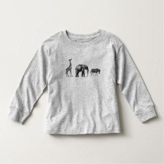 Safari sofisticado, girafa, elefante e zebra camiseta infantil