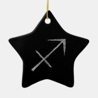Sagitário. Sinal da astrologia do zodíaco. Preto Ornamento De Cerâmica Estrela