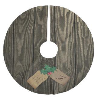 Saia de madeira escura rústica da árvore de Natal Saia Para Árvore De Natal De Poliéster