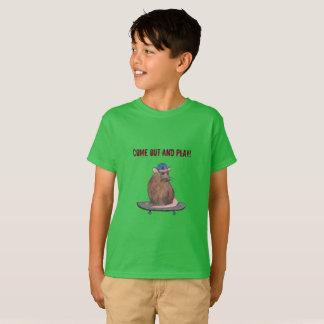 Saia e jogue - o rato legal com um skate camiseta