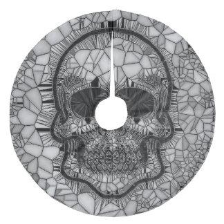 Saia Para Árvore De Natal De Lã Crânio de vidro do mosaico, branco preto