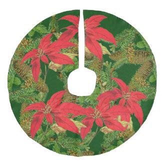 Saia Para Árvore De Natal De Linho Falso A poinsétia do Natal floresce a saia da árvore do