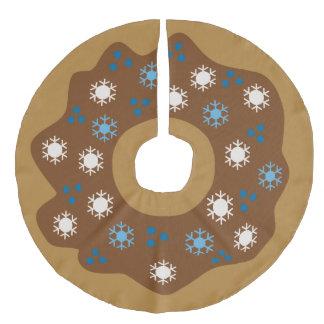 Saia Para Árvore De Natal De Linho Falso O azul da rosquinha do Natal do floco de neve