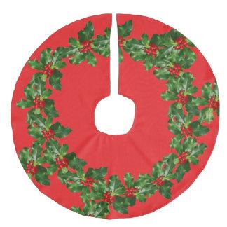 Saia Para Árvore De Natal De Linho Falso Saia vermelha da árvore das folhas das bagas do