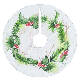 Saia Para Árvore De Natal De Poliéster Aguarelas do Feliz Natal