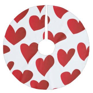 Saia Para Árvore De Natal De Poliéster Amor vermelho pintado teste padrão do coração da