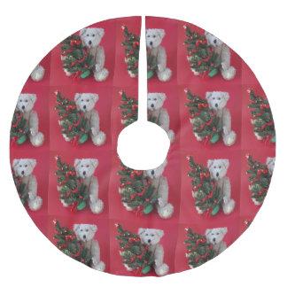 Saia Para Árvore De Natal De Poliéster Árvore de Natal com urso de ursinho