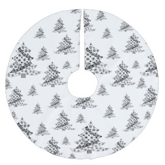Saia Para Árvore De Natal De Poliéster Árvores de Natal pretas & feriado branco