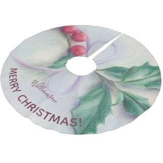 Saia Para Árvore De Natal De Poliéster Azevinho com Feliz Natal personalizado Pastel do
