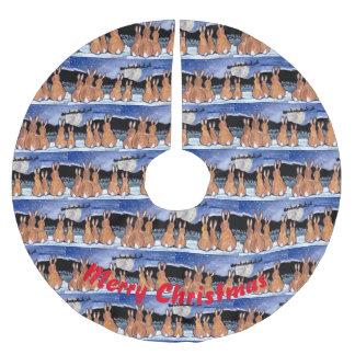 Saia Para Árvore De Natal De Poliéster Azul de observação da saia da árvore do papai noel