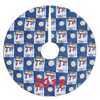Saia Para Árvore De Natal De Poliéster Azul romântico do Natal do inverno da lua do