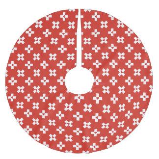 Saia Para Árvore De Natal De Poliéster Bandeira da suiça com teste padrão do coração