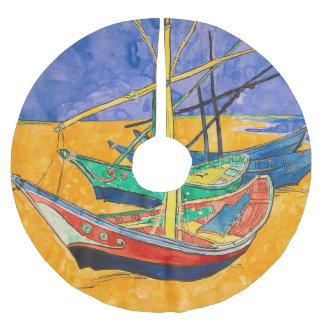 Saia Para Árvore De Natal De Poliéster Barcos de Van Gogh coloridos