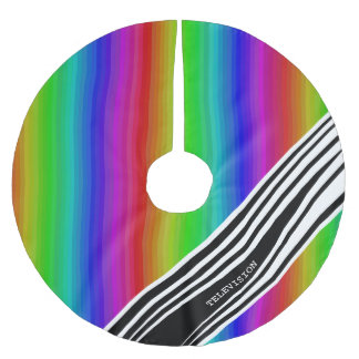 Saia Para Árvore De Natal De Poliéster Bares de cor verticais da tevê do arco-íris da