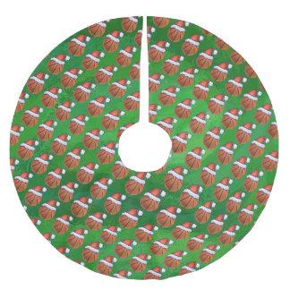 Saia Para Árvore De Natal De Poliéster Basquetebol do chapéu do papai noel no verde