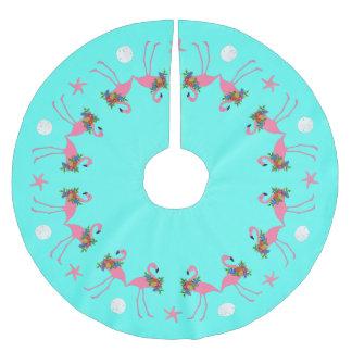 Saia Para Árvore De Natal De Poliéster Beira azul tropical do Natal do flamingo