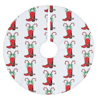 Saia Para Árvore De Natal De Poliéster Bota de vaqueiro e bastões de doces vermelhos