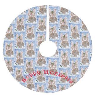 Saia Para Árvore De Natal De Poliéster Branco azul da saia da árvore de Natal do coelho