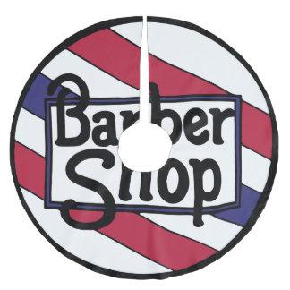 Saia Para Árvore De Natal De Poliéster Branco do logotipo do barbeiro e azul vermelhos