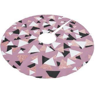 Saia Para Árvore De Natal De Poliéster Brilho cor-de-rosa do ouro dos triângulos