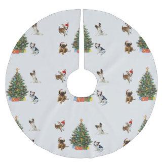 Saia Para Árvore De Natal De Poliéster Cães em chapéus do papai noel