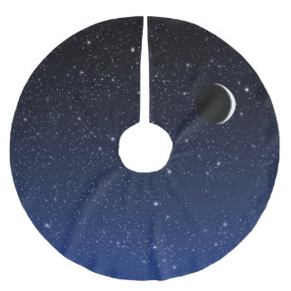 Saia Para Árvore De Natal De Poliéster Céu estrelado e lua do crescente, azul da