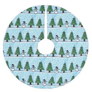 Saia Para Árvore De Natal De Poliéster Cumprimentos do boneco de neve