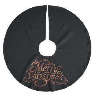 Saia Para Árvore De Natal De Poliéster design do roteiro do Feliz Natal do Cobre-olhar