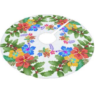 Saia Para Árvore De Natal De Poliéster Design tropical do azevinho do hibiscus n