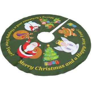 Saia Para Árvore De Natal De Poliéster Divertimento Papai Noel e outros caráteres do