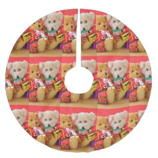 Saia Para Árvore De Natal De Poliéster Dois ursos de ursinho com presentes de Natal