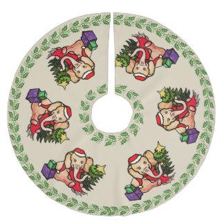 Saia Para Árvore De Natal De Poliéster Elefantes retros festivos do papai noel do Feliz