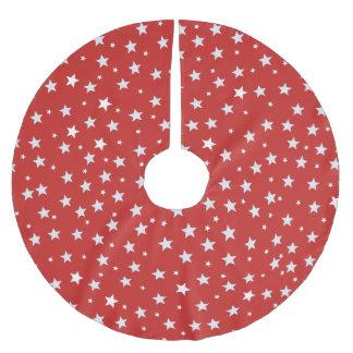 Saia Para Árvore De Natal De Poliéster Estrelas brancas no vermelho