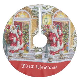 Saia Para Árvore De Natal De Poliéster Família de visita de Papai Noel do vintage