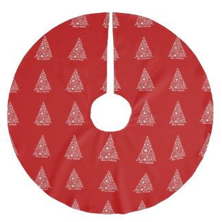 Saia Para Árvore De Natal De Poliéster Feliz Natal vermelho e branco da árvore de