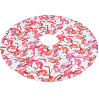Saia Para Árvore De Natal De Poliéster Flamingos da aguarela nas aguarelas