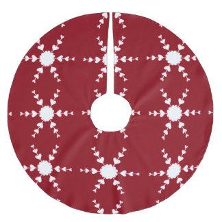 Saia Para Árvore De Natal De Poliéster Flocos de neve brancos do coração na saia vermelha