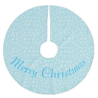 Saia Para Árvore De Natal De Poliéster Flocos de neve na saia azul da árvore