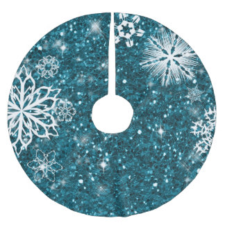Saia Para Árvore De Natal De Poliéster Flocos de neve na turquesa ID454 do brilho
