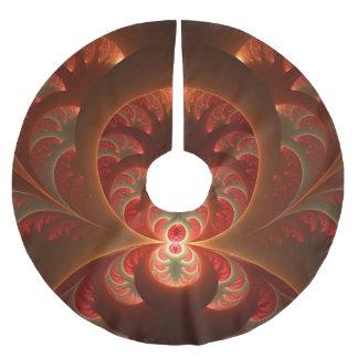 Saia Para Árvore De Natal De Poliéster Fractal moderno abstrato luminoso do vermelho