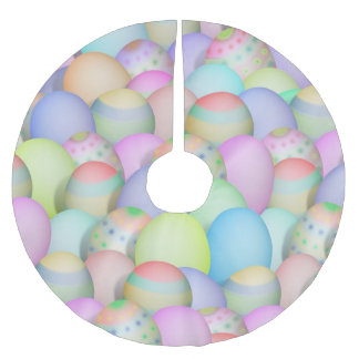 Saia Para Árvore De Natal De Poliéster Fundo colorido dos ovos da páscoa