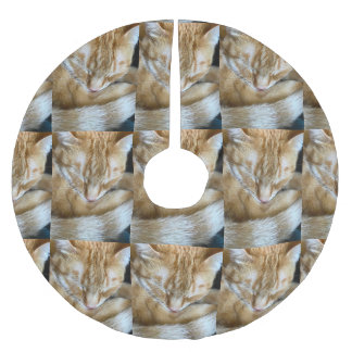 Saia Para Árvore De Natal De Poliéster Gato de gato malhado alaranjado do sono