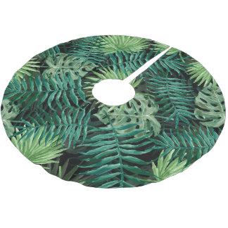 Saia Para Árvore De Natal De Poliéster Grande palma de samambaia verde e plantas