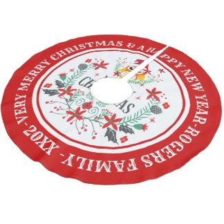 Saia Para Árvore De Natal De Poliéster Grinalda do Feliz Natal & coruja bonito
