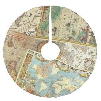 Saia Para Árvore De Natal De Poliéster Impressão do mapa do vintage
