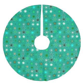 Saia Para Árvore De Natal De Poliéster Impressão, turquesa e Aqua modernos de Starburst