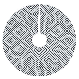 Saia Para Árvore De Natal De Poliéster Linha branco geométrico 02 do preto do teste