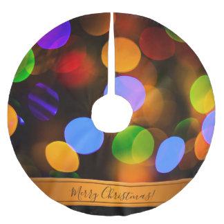 Saia Para Árvore De Natal De Poliéster Luzes de Natal coloridos. Adicione o texto ou