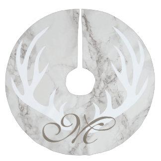 Saia Para Árvore De Natal De Poliéster Monograma de mármore branco do Taupe dos Antlers